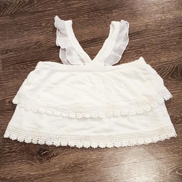 Pins & Needles White Crochet Trim Ruffle Tank Top
